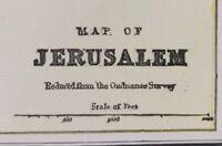 """Vintage 1900 JERUSALEM Map 14""""x11"""" ~ Old Antique Original HOLY LAND TEMPLE MOUNT"""