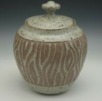 ED SCHROCK ART POTTERY STONEWARE COOKIE JAR KITCHEN CANISTER SGRAFFITO