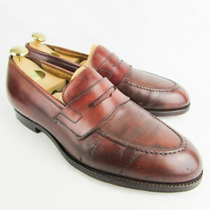 Crockett and Jones Loafers UK 8 E Brown Leather Shoes Slip-On Eaton Mens
