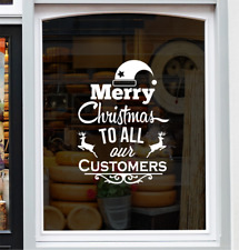 Merry Christmas To All Customers Shop Window Sticker Festive Xmas Display Decal