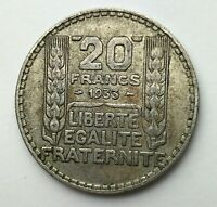 Dated : 1933 - Silver Coin - France - 20 Francs - Twenty Francs