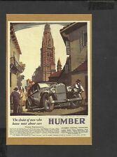 Nostalgia Postcard Car Advertisement Humber Snipe Saloon 1932