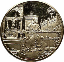 1980 Saint Augustine in His Study GILT Silver Christian Medal Renaissance i60776
