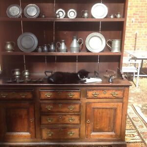 18th Century Period Oak Lancashire Dresser Complete With Pewter Collection