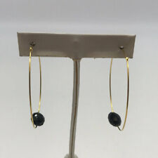 Bead Hoop Earrings Sylvia Benson Gold-Tone Black