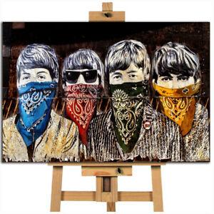 The Beatles street art banksy / Mr. Brainwash canvas wall art print