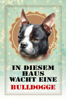 Guard Dog Dog Bulldog Metal Sign Signboard Arched Metal Tin Sign 20 x 30 Cm