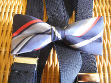 NEW  BOYS SILK STRIPE BOW TIE/BLACK SUSPENDER SET/MADE IN THE USA