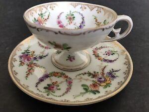 Fine Antique Dresden Foot Pedestal Hand Paint Garland Swags Miniature Cup Saucer