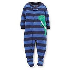 Boy's 4T Blue Dinosaur T-Rex Striped Fleece Footed Pajama Sleeper