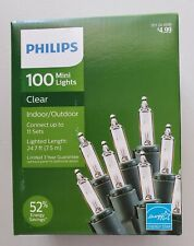 Philips 100 Clear Mini Lights (Indoor/Outdoor) 24.7 Lighted Length Green Strand