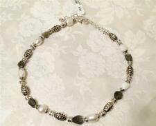 Brighton Free Spirit Necklace pearls beads rocks silver plated tags