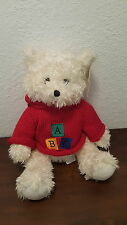 Animal Alley Toys R Us Fluffly White Teddy Bear w Red ABC Sweater Hoodie NWT