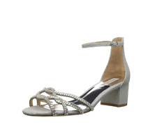 Badgley Mischka size 7 Sonya Silver Bridal Diamond Drill Fabric Heels $225