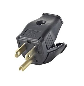 Leviton 3W101-E 2-Pole 3-Wire Grounding Plug, Black