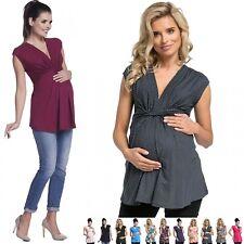 Zeta Ville - Women's Pregnancy Top V-neck Knot Front Pleat Empire Waist - 966c