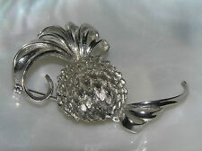 Vintage Dimensional Silvertone  Round Pineapple with Curly Top and Bottom Pin