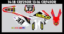 Honda CRF450r, 2013-2016 CUSTOM MX FULL KIT-FACTORY GRAPHICS-MADE IN THE USA