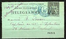 France 1896 50c black on blue Telegramme to Paris with pre-printed AVIS (notice)