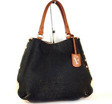 Auth FURLA Beige Grey Canvas Leather Handbag Tote Shoulder Bag Purse Italy Used