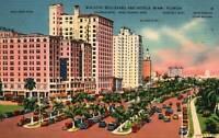 Miami Florida Biscayne Boulevard Hotels Vintage Cars Linen Postcard