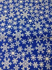 SnowFlakes Blue Fabric Material 36 by 42 One piece
