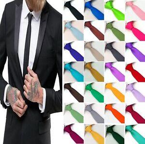 SKINNY RETRO 5cm Mens Plain Solid Shiny Satin Party Wedding Tie FREE UK DELIVERY
