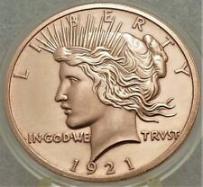 1921 PEACE DOLLAR with eagle back** 1 OZ .999 COPPER round~new capsule B5