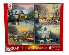 "Thomas Kinkade Winter/Christmas 4 In One Box Puzzles 500 Piece Each 18"" x 14"""