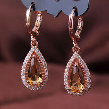 HUCHE Drop Yellow Sapphire Topaz Crystal Rose Gold Filled Women Lady Earrings