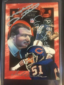 1993 Chicago Bears Hall of Fame Butkus Ditka Sayers Autographed Card #100/200