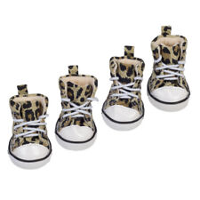 4pcs Pet Dog Boots Puppy Leopard Sports Anti-slip Shoes Sneakers For Small Dogs