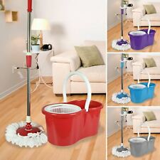 More details for 360 degree rotating spinning spin mop bucket adjustable handle 2 cleaning heads