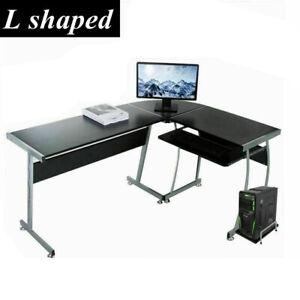 L Shaped Computer Table Desk Drawer PC Desktop Cabinet Home Office Furniture