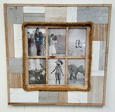6 Panel Multi Rustic Natural Wood Large Photo Frame Home Decor Art Gift -5104