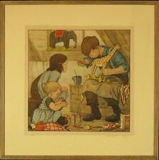 "B. Midderigh--Bokhorst (Dutch artist) Vintage Lithograph: ""Winter Work"""