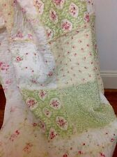 7 Shabby Chic French Country Throw Quilt Rug Blanket Green Off White Patchwork