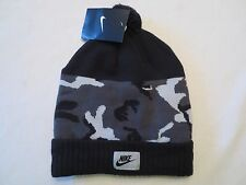 NIKE CAMO POM BEANIE HAT 688788 010 ADULT UNISEX BLACK GREY KNIT CAP $30