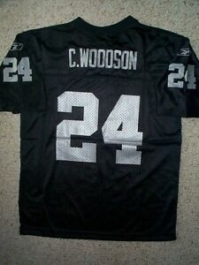 REEBOK Oakland Raiders CHARLES WOODSON nfl Jersey YOUTH KIDS BOYS (L-LG-LARGE)