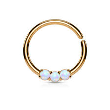 1pc Bendable Three Opal Ion Plated Septum / Cartilage Hoop Ring Body Jewelry