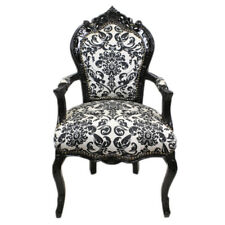 CHAIRS FRANCE BAROQUE STYLE DINING ROYAL CHAIR WITH ARMRESTS BLACK/BAROQUE#70F31
