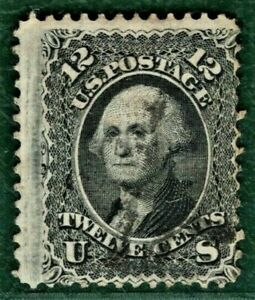 USA Stamp Scott.97 12c Washington 9x13mm Grille (1861) Used VFU Cat $260 GREEN29