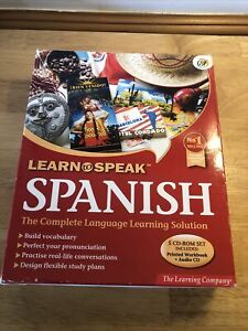 Learn To Speak Spanish PC CD Rom 5 CDs With Book The Learning Company