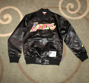 Lakers Jacket Satin Black Sz Small Mitchell and ness M&N Com Plex Con complexcon