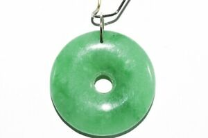 26.40CT NATURAL FANCY CUT GREEN JADE SOLITAIRE DISC PENDANT 14K WHITE GOLD