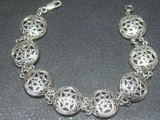 "DOUBLE LINKED 8"" PENTAGRAM BRACELET .925 sterling silver  by Peter Stone"