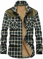 Mens Thermal Button-Down Fleece Lined Flannel Plaid Twill Work Shirt Jacket G1 M