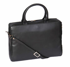 Womens Real Leather Briefcase Messenger Shoulder Office Laptop Bag Black