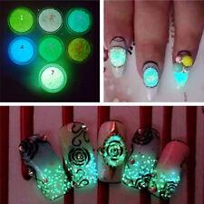 Green Glitter Luminous Nail Art Stickers Tips Decoration DIY Acrylic Manicure
