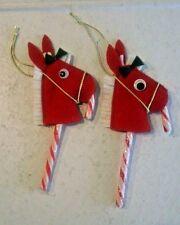 Two Candy Cane Christmas Pony Ornaments, Handmade with Felt & Trim